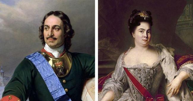 Петр Великий и его вторая жена Екатерина