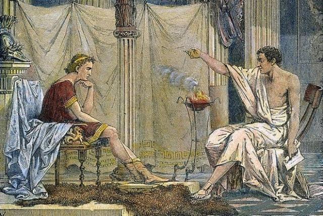 Александр Македонский с Аристотелем