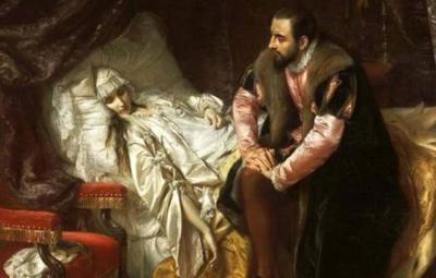 Сигизмунд II Август с умирающей женой Барбарой Радзивилл